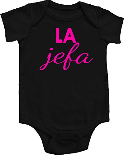La Jefa (Girl) Boss Spanish Funny Baby Onepiece Bodysuit Unisex Gift Regalo Black w/Fluorescent Pink Font (6-12 Months (Medium))