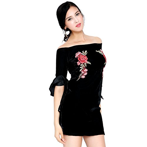 Off Shoulder Sexy Trumpeted Sleeve Black Corduroy Dress with Embroidered Floral Print X-Large