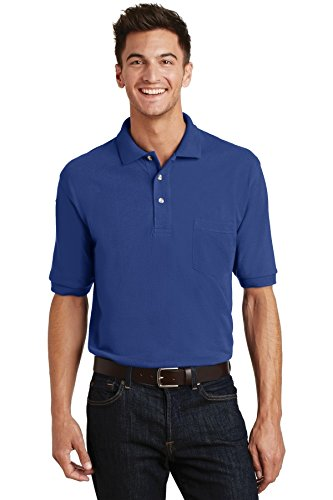 Port Authority Pique Knit Polo with Pocket. K420P Royal XL