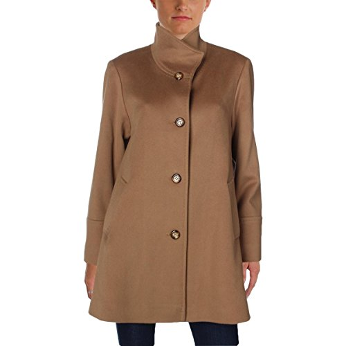 Fleurette Womens Wool Side Slit Basic Coat Tan 6 (Coat Wool Side Slit)