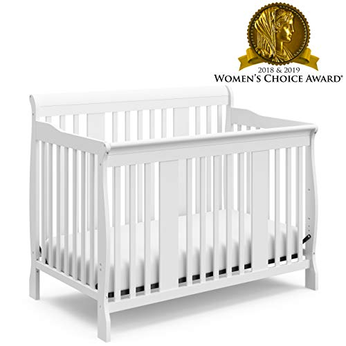 Storkcraft Tuscany 4-in-1 Convertible Crib, White Easily Converts to Toddler Bed, Day Bed or Full Bed, 3 Position Adjustable Height Mattress (White Suite Bed)