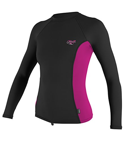 O'Neill Women's Premium Skins UPF 50+ Long Sleeve Rash Guard, Black/Berry, Large
