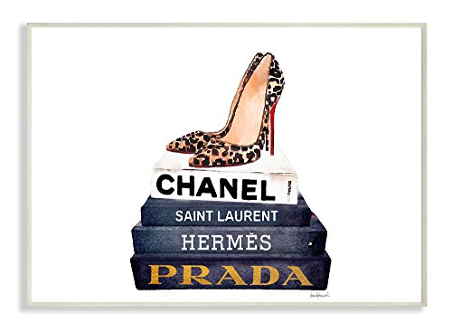 Stupell Industries Glam Fashion Book Set Leopard Pumps Heels Wall Plaque Art, Proudly Made in - Glam Fashion
