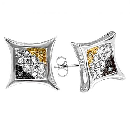0.06 Carat (ctw) Sterling Silver Black, White & Yellow Diamond Mens Kite Shape Hip Hop Stud Earrings by Dazzlingrock Collection