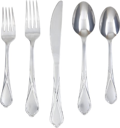 Cambridge Silversmiths Heather Sand 20-Piece Flatware Silverware Set, Stainless Steel, Service for 4, Includes Forks/Spoons/Knives