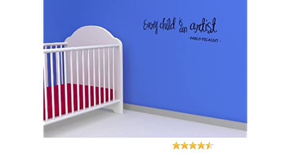 Every Child is an Artist by Pablo Picasso Vinyl Wall Decal Quote