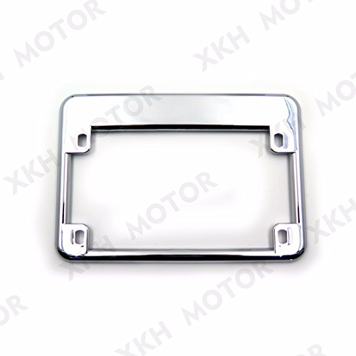 XKH Group Chrome Motorcycle License Plate Frame Surround Cover for Honda Yamaha Harley Scooter Chopper