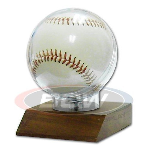 Autograph Display (BCW Wood Base Baseball Holder with Real Walnut ! Great Looking and Affordable Sports Memorabilia Holder to Display your Favorite Autograph Baseball ! Makes a Great Gift !)
