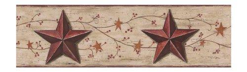 [York Wallcoverings CB5500BD Barn Star and Vine Border] (Barn Star Wallpaper)