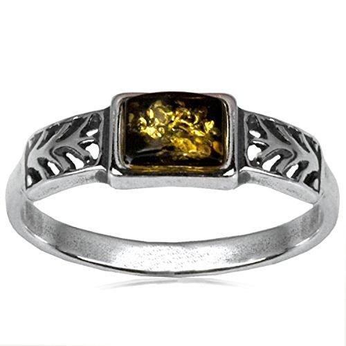Sterling Silver Green Amber Rectangular Shape Stone Classic Ring (Rectangular Shape Ring)