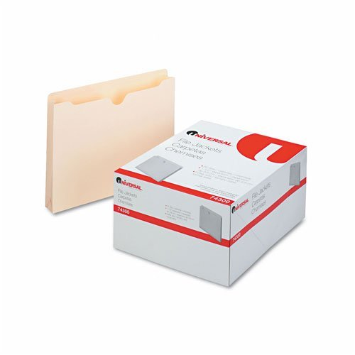 Universal 74300 Economical File Jackets, 1 1/2 Inch Expansion, Letter, 11 Point Manila, 50/Box