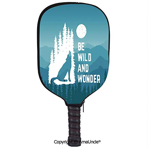 AmaUncle 3D Pickleball Paddle Racket Cover Case,Hand Drawn Be Wild and Wonder Quote Howling Wolf in The Woods Under Moon Customized Racket Cover with Multi-Colored,Sports -
