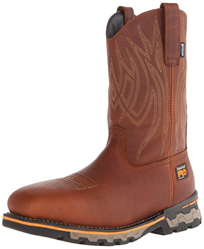 - Timberland PRO Men's AG Boss Pull-On Alloy SQ Toe Work and Hunt Boot, Red/Brown Full Grain Leather, 11.5 W US