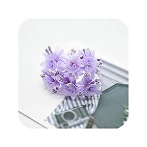 Tokyo Summer 6Pcs Silk Bridal Flower Fake Scrapbook for Home Wedding Decoration Accessories Handmade DIY Gifts Christmas Artificial Flowers,Purple 41