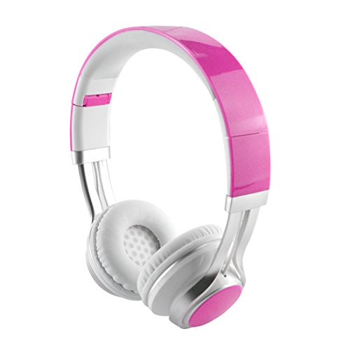 LinkIdea Women's On-Ear Headphones with Mic, Lightweight Foldable Headphone with Microphone, Sized to fit Women and Girls (Rose Red)