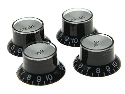 Dopro Set of 4 LP Guitar Reflector Knobs Black with Chrome Cap Top Hat Knobs For SG Epiphone Les Paul by DOPRO (Image #1)
