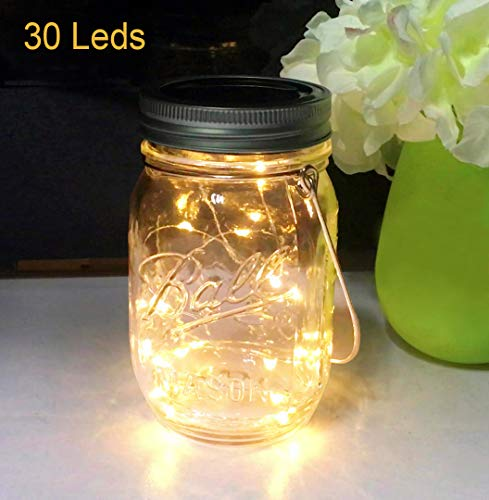 Aubasic Solar Mason Jar Lights, 30 LEDs Waterproof Fairy Firefly String Lights Build-in Glass Mason Jar, Best Patio Yard Desktop Party Decor Solar Lantern Warm White (1-Pack Mason Jars Included)