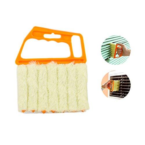 Mini Blind Cleaner - Shutters Window Blind Brush Dust Cleaner Orange with 7 Slat Handheld Household Tool