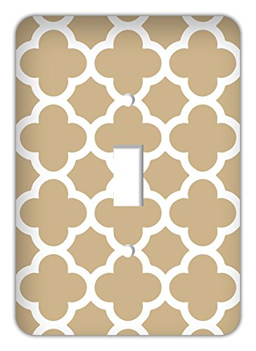 Beige Switchplate - Quatrefoil Trendy Printed Single Switchplate Cover, Sand