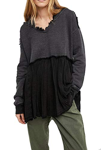 R.Vivimos Women Winter Patchwork Pleated Casual Plus Size Pullover Hooded Sweatshirts Tops Dresses (Large, Gray) (Plus Size Ruffle Coat)