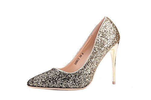 Mila Lady (BONNIE09 Women Fashion Embellished Sparkles Contrast Color Pointed Toe Pumps High Heel Stilettos Sexy Slip On Dress Shoes, BRONZE6