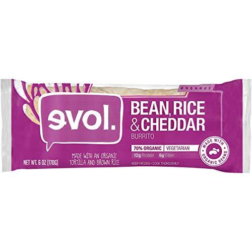 (Evol, Bean Rice & Cheddar Vegetarian Burrito, 6oz (Frozen))
