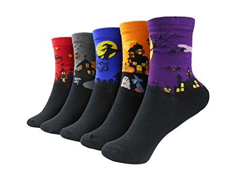 Fantastic Women's Cotton Crew Socks with Holloween Bats,Ghosts,Witches -