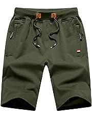 Chyu Herren Beiläufig Shorts Baumwolle Sport Jogger Classic Fit Sommershorts, elastische Taille Reißverschlusstaschen (Armeegrün, XL)