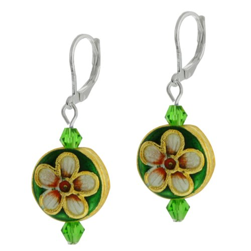 Gem Stone King Green Crystal Cloisonne Bead Button Shape Lever Back Flower Earrings 2 Inch