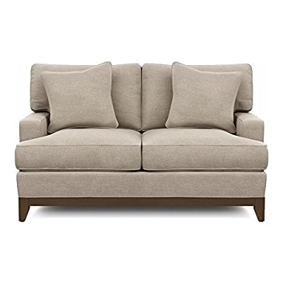 Ethan Allen Arcata Sofa, Quick Ship - An engineered hardwood frame provides superior strength and durability, while poly-wrapped foam cushions provide a structured, soft seat. Stain-resistant and tailored by hand by Ethan Allen artisans in our North American workshops. Loose back and seat cushions. Solid tapered legs stained in Raisin (939) water-based finish - sofas-couches, living-room-furniture, living-room - 41cSuOt4BTL. SS400  -