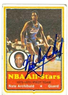 Archibald Autographed Basketball (Nate Archibald autographed Basketball card (Kansas City Kings) - Basketball Autographed Cards)