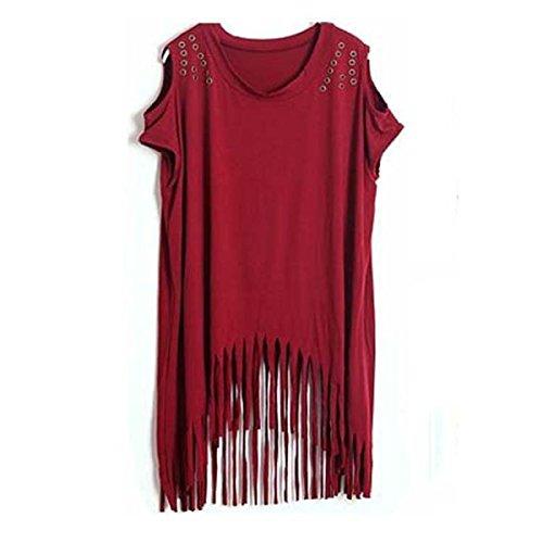 De Las Mujeres Short - Suelta De Manga - Montaje XL Cuello Redondo Vestido De La Borla WineRed