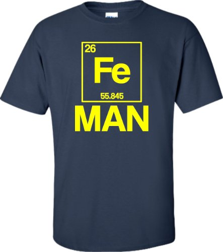 X-Large Navy Blue Adult Iron Periodic Table Man Funny Chemistry Science T-Shirt