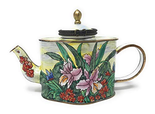 Kelvin Chen Lilies and Butterflies Enameled Miniature Teapot with Hinged Lid, 5 Inches Long