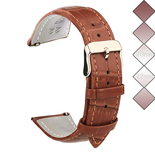 22mm Leather Watch Bands, Vetoo Classic Genuine Crocodile Pattern Leather Replacement Watch Strap - Rose Gold Buckle - Light Brown