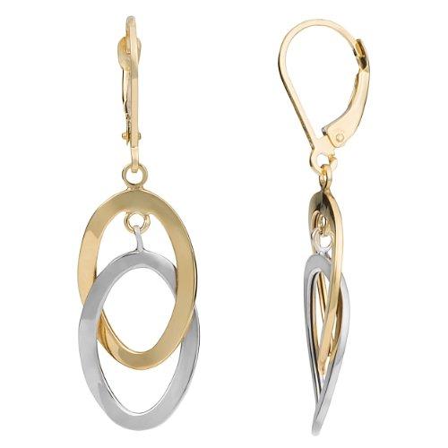 Kooljewelry 10k Two-tone Gold Interlocking Twist Ovals Leverback Earrings ()