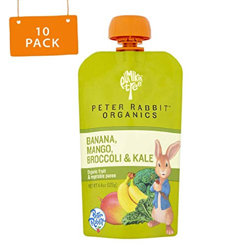 Peter Rabbit Organics Mango, Broccoli and Kale Puree, 4.4 Ounce Squeeze Pouch (Pack of 10)