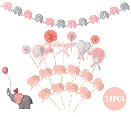 Pink White Grey Baby Girl Baby Shower Decorations Grey Elephant Baby Shower Pink Grey White Baby Shower Decorations for Girl - (Cake Topper)