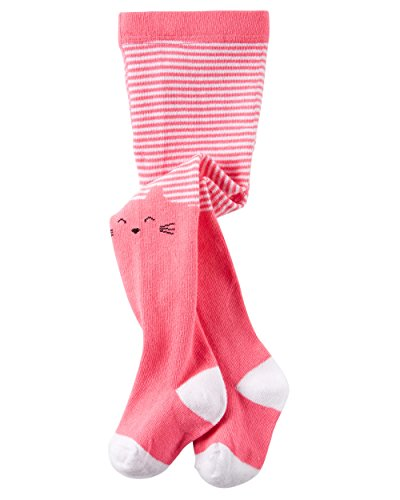 Carters Girls Knit-In Cat Face Striped Tights; Pink (0-9 Months) Striped Cat Face