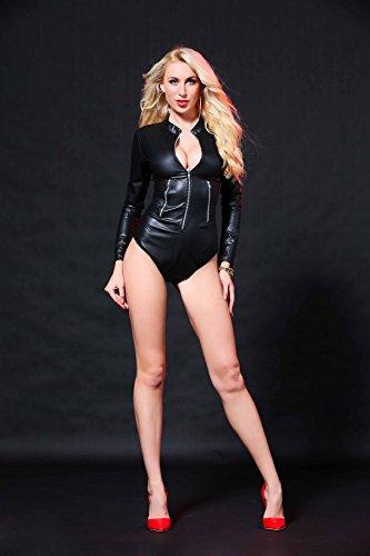 Pelle Dance Sexy Abbigliamento Lingerie Shapewear Filante Abito Da Pigiama Set Notte Intimo In Discoteche Pole Tute m Nera vBZqFw