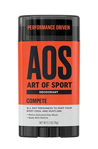 Art of Sport Men's Deodorant Clear Stick, Compete Scent, Aluminum Free, High Performance Sport Deodorant, Made with Matcha, Keeps You Cool and Fresh All Day, No Parabens, 2.7oz