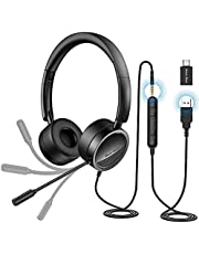 USB Headset New bee Computer Headset in-Line Call Controls Office Headset with Noise Cancelling Micphone Call Center Headset for Skype, Zoom, Laptop, Phone, PC, Tablet, Home with USB-C Adapter