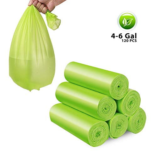 Trash Bags, 4-6 Gallon Recycling and Degradable Garbage Bags Extra Strong Rubbish Bags for Home, Office, Kitchen, Bathroom 120 Counts (Bags Biodegradable 120)