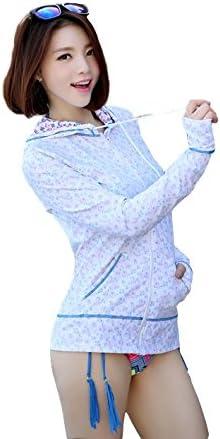 [Peach Fashion] (ピーチファッション) レディース ラッシュガード ブルー 花柄 UV対策 水着 安心の無料サイズ交換サービス付 PF SW6005CBL