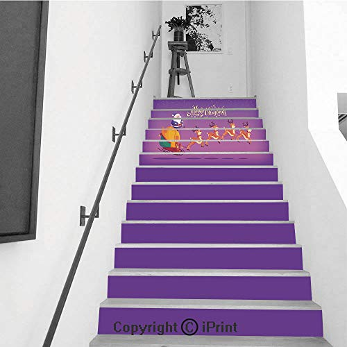 Stair Stickers Wall Stickers,13 PCS Self-Adhesive,Stair Riser Decal for Living Room, Hall, Kids Room,Cute Cartoon Blue Suit Santa Claus Riding Reindeer Sleigh -