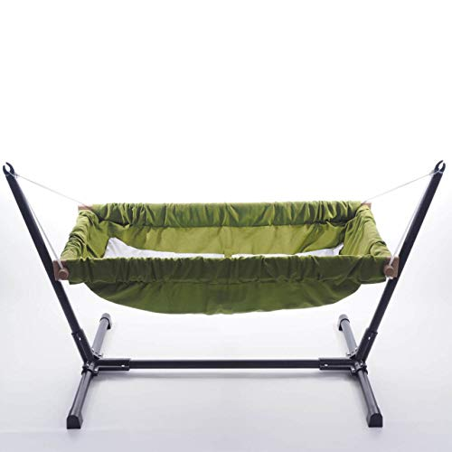 Baby Hammock Cradle 100% Cotton Cribs Travel babyhammock Wooden Swing with Stand Green