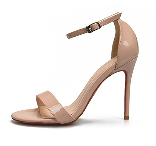 ZPL Womens Ladies Strappy Stiletto High Heel Sandals Ankle Strap Peep Toe Shoes Party apricot Isv6Kkn