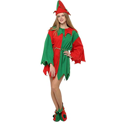 EraSpooky Adults' Christmas Costumes Santa Elf Costume Women Elf Outfit Men Dress Up - Funny Cosplay Party ()
