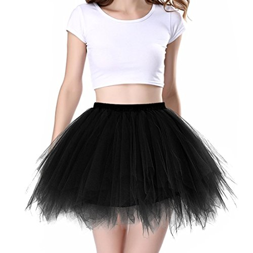 iphonepassteCK 1950s Vintage Tutu Multi Layers Tulle Skirt Ballet Bubble Tutu Skirt Crinoline Petticoat Skirt Dance Tutus for Women, (one Size, Black 01)
