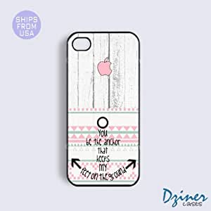 iPhone 4 4s Tough Case - Wood Anchore Quote Pink Design iPhone Cover